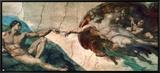 Creation of Adam Framed Canvas Print by  Michelangelo Buonarroti