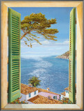 Finestra Sul Golfo Framed Canvas Print by Andrea Del Missier