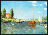 Red Boats at Argenteuil, c.1875 Framed Canvas Print by Claude Monet