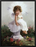Baby Angel II Framed Canvas Print by Joyce Birkenstock