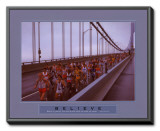 Believe: Marathon Runners Framed Canvas Print