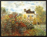 The Artist's Garden in Argenteuil Framed Canvas Print by Claude Monet