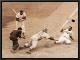 Jackie Robinson Stealing Home, May 18, 1952 Framed Canvas Print by Nat Fein