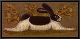 Green Folk Bunny Framed Canvas Print by Lisa Hilliker