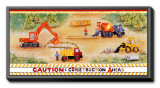 Construction Ahead Framed Canvas Print by Lila Rose Kennedy