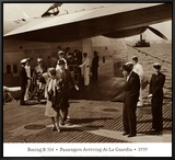Boeing B-314, Passengers Arrive at La Gaurdia, 1939 Framed Canvas Print by Clyde Sunderland