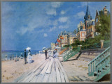 Beach at Trouville Framed Canvas Print by Claude Monet