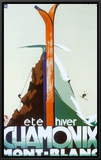Verão, inverno, Chamonix, Mont-Blanc Impressão em tela emoldurada por Henry Reb