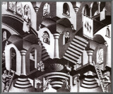 Concave and Convex Framed Canvas Print by M. C. Escher