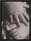 Hope: Baby Hands and Feet Framed Canvas Print by Laura Monahan