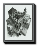 Ascending and Descending Framed Canvas Print by M. C. Escher