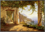 View to the Amalfi Coast Framed Canvas Print by Carl Frederic Aagaard