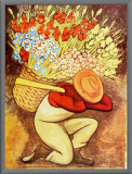 El Vendedora De Flores Framed Canvas Print by Diego Rivera