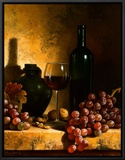 Wine Bottle, Grapes and Walnuts Framed Canvas Print by Loran Speck