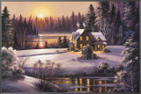 Winter Sunset Framed Canvas Print by Dubravko Raos