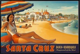 Visit Santa Cruz Framed Canvas Print by Kerne Erickson
