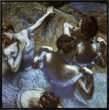 Blue Dancers Framed Canvas Print by Edgar Degas