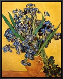 Vase of Irises Against a Yellow Background, c.1890 Framed Canvas Print