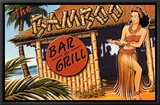 Bamboo Bar and Grill, Hawaii Framed Canvas Print