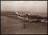 Boeing Stratocruiser, George Washington Bridge, 1949 Framed Canvas Print by Clyde Sunderland