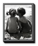 Kids Kissing Framed Canvas Print