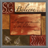 Words to Live By: Believe Framed Canvas Print by Debbie DeWitt