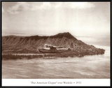 Pan American Clipper over Waikiki, Hawaii, 1935 Framed Canvas Print by Clyde Sunderland