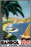 Bandol Hiver Ete Framed Canvas Print by Roger Broders