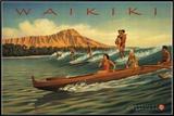 Waikiki Framed Canvas Print by Kerne Erickson