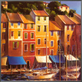 Portofino Waterfront Framed Canvas Print by Michael O'Toole