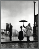 Musician in the Rain Framed Canvas Print by Robert Doisneau