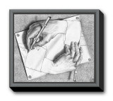 Drawing Hands Framed Canvas Print by M. C. Escher