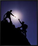Teamwork: Climbers Framed Canvas Print