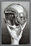 Hands with Sphere Framed Canvas Print by M. C. Escher