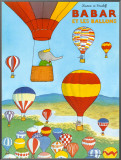 Babar et les ballons Framed Canvas Print by Laurent de Brunhoff