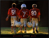 Winners Never Quit - Football Framed Canvas Print