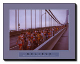 Believe: Marathon Runners Stretched Canvas Print