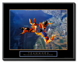 Teamwork: Skydivers Framed Canvas Print