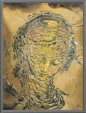 Raphaelesque Head Exploded Framed Canvas Print by Salvador Dalí