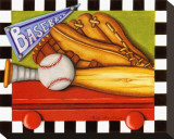 Baseball Stretched Canvas Print by Kathy Middlebrook