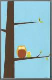 Treetop Owls I Framed Canvas Print