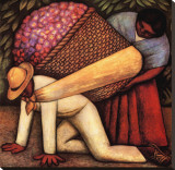 The Flower Carrier Stretched Canvas Print by Diego Rivera