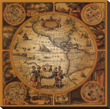 Antique Map, Cartographica II Stretched Canvas Print