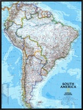 South America Political Map Framed Canvas Print