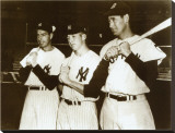 Joe DiMaggio, Mickey Mantle and Ted Williams, 1951 Stretched Canvas Print