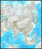 Asia Political Map Framed Canvas Print