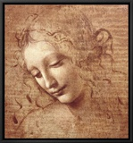 Female Head (La Scapigliata), c.1508 Framed Canvas Print by Leonardo da Vinci
