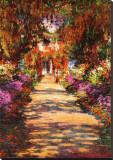 Het tuinpad Kunstdruk op gespannen doek van Claude Monet