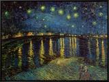 Noite estrelada sobre o Ródano, cerca de 1888 Impressão em tela emoldurada