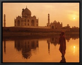 Taj Mahal, India Framed Canvas Print by Peter Adams